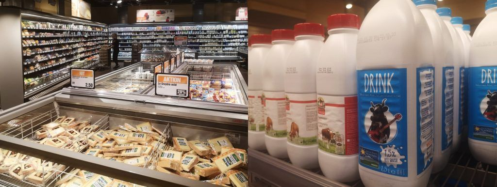supermarket counters with milk and cheese